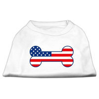 Mirage Pet Products 5108 LGWT Bone Shaped American Flag Screen Print Shirts White L 14