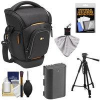Case Logic Digital SLR Zoom Holster Camera Bag/Case (Black) (SLRC-201) + LP-E6 Battery + Tripod + Accessory Kit for Canon EOS 5D Mark II III, 60D, 60Da & 7D