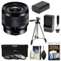 Sony Alpha E-Mount 10-18mm f/4.0 OSS Wide-angle Zoom Lens + 3 Filters + Tripod + NP-FW50 Battery & Charger Kit for A7, A7R, A7S, A3000, A5000, A5100, A6000 Cameras