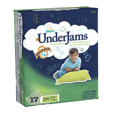 Pampers UnderJams Boys Size 7 (S/M) Jumbo Pack 17 Count
