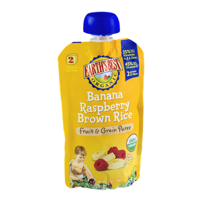 Earth's Best Organic Stage 2 Banana Raspberry Brown Rice Fruit & Grain Puree