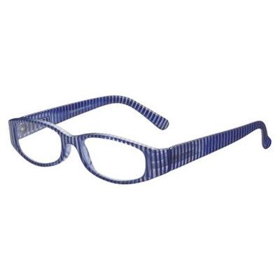 ICU Eyewear ICU Nautical Blue Striped Rectangle Reading Glasses With Case - +1.75