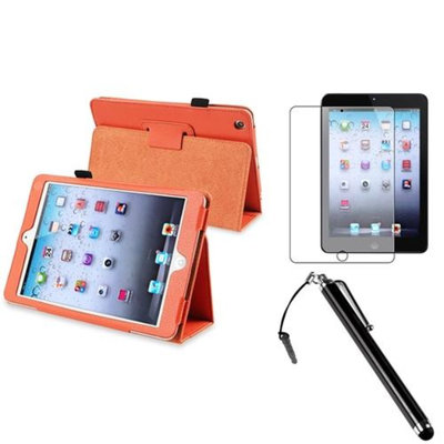 Insten iPad Mini 3/2/1 Case, by INSTEN Orange Leather Case Stand Cover+AG Protector/Stylus for iPad Mini 3 2 1
