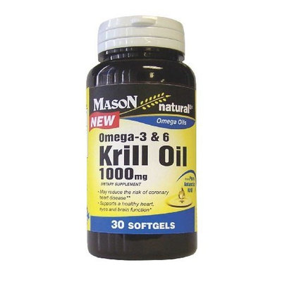 Mason Vitamins Krill Oil 1000mg, Omega-3-6 from Pure Antarctic Krill, 30 softgels