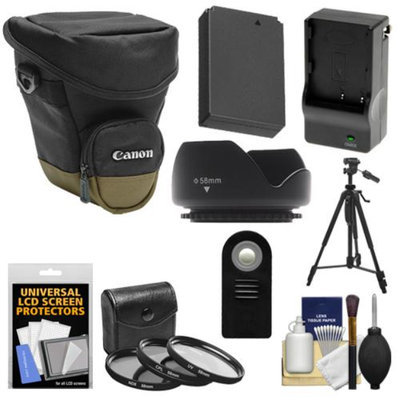 Canon Zoom Pack 1000 Digital SLR Camera Holster Case with LP-E12 Battery & Charger + 3 Filters + Tripod + Remote + Hood + Accessory Kit for Rebel SL1