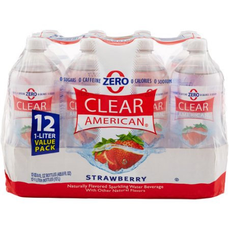 Clear American Strawberry Sparkling Water, 1 l, 12pk