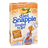 Diet Snapple Singles To Go Low Calorie Peach Tea Drink Mix - 8 CT