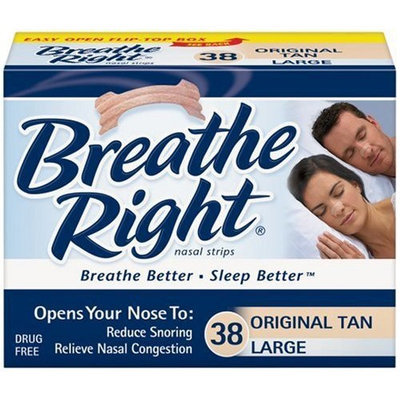 Breathe Right Nasal Strips, Large, Tan, 38-Count Boxes (Pack of 2)