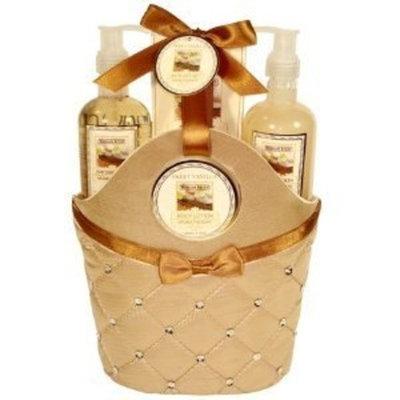 Morgan Avery Bath and Body Satin Rhinestone Bag Gift Set, Sweet Vanilla