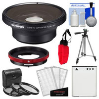 Olympus FCON-T01 Fisheye Converter Lens & CLA-T01 Adapter Ring Pack for Tough TG-1, TG-2 & TG-3 iHS Camera with Li-90B Battery + Tripod + 3 UV/CPL/ND8 Filters Kit