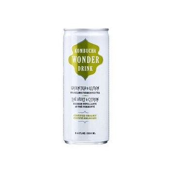 Kombucha Wonder Drink, Green Tea and Lemon Fermented Tea, 8.4oz Can (Pack of 24)