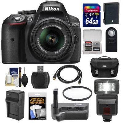 Nikon D5300 Digital SLR Camera & 18-55mm G VR DX II AF-S Lens (Black) with 64GB Card + Battery + Charger + Case + Grip + Flash + Kit
