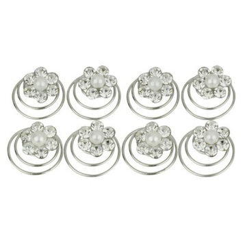 Social Gallery By Roman 8 Piece Crystal and Pearl Hair Pins - Silver