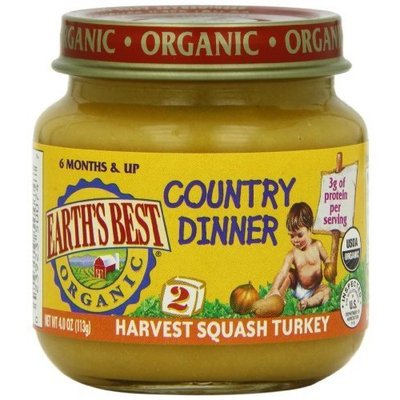 Earth's Best Organic Country Dinner Baby Food, Harvest Squash Turkey, 4 Ounce