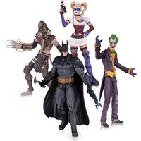 DC Comics Arkham Asylum 4-Pack Action Figure Set, Joker, Harley Quinn, Batman and Scarecrow