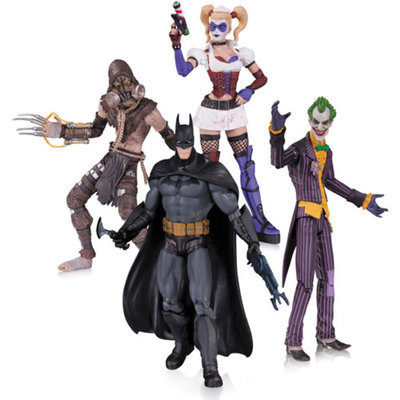 DC Comics Arkham Asylum 4-Pack Action Figure Set, Joker, Harley Quinn, Batman and Scarecrow