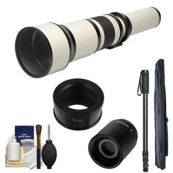 Rokinon 650-1300mm f/8-16 Telephoto Lens (White) (T Mount) with 2x Teleconverter (=2600mm) + Monopod + Accessory Kit for Samsung NX20, NX200, NX210 & NX1000 Digital Cameras