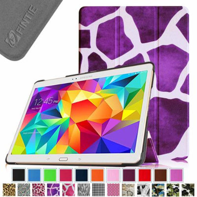 Fintie Smart Shell Leather Case Cover for Samsung Galaxy Tab S 10.5 (10.5-Inch) Tablet, Giraffe Purple