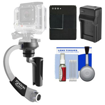 Steadicam Curve Compact Video Camera Stabilizer for GoPro (Silver) with HERO3 AHDBT-301 Battery & Charger + Accessory Kit