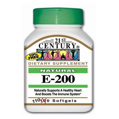 21st Century E 200 I.U. Natural (D-Alpha) Softgels, 110 Count (Pack of 2)