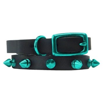 Platinum Pets Black Genuine Leather Cat and Puppy Collar with Spikes -