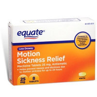 Equate - Motion Sickness 25 mg, Less Drowsy, 8 Tablets (Compare to Dramamine)