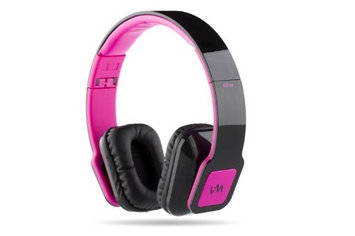 VM Audio Elux On-Ear Hyperbass Headphones (Piano Black/Pink)