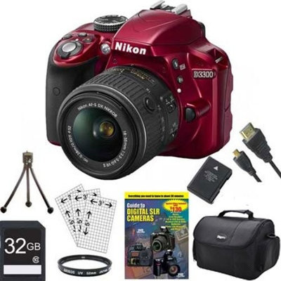 Nikon D3300 24.2 MP CMOS Digital SLR with AF-S DX NIKKOR 18-55mm f/3.5-5.6G VR II Zoom Lens (Red) BUNDLE with 32GB High Speed SDHC Card, Spare Battery, Micro HDMI Cable, Guide to SLR DVD Tutorial, UV Filter, Padded Case and MORE