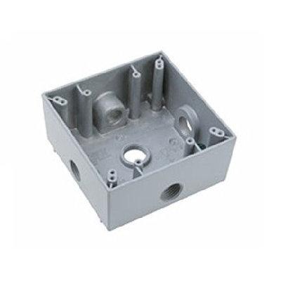 Legrand P & S WPB262 2-Gang Weatherproof Box, 5-Hole 1/2, Gray