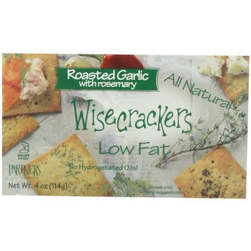 Partners Wisecrackers Low Fat Crackers, Roasted Garlic Rosemary, 4-Ounce Boxes (Pack of 6)