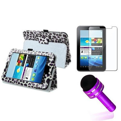 Insten INSTEN Purple Leopard Leather Case Cover Stand+Protector+3.5mm Plug Pen For Samsung Galaxy Tab 2 7 7.0