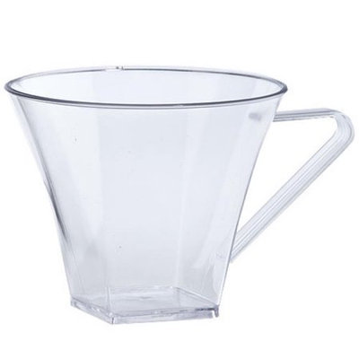 King Zak Ind Lillian Tablesettings 30280 Clear 8 Oz Plastic Flared Square Coffee Mugs - 192 Per Case