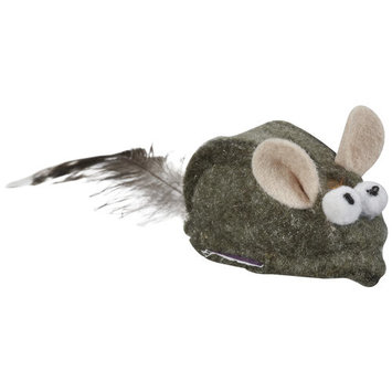 Multipet Felt Mice With Feathers Cat Toy