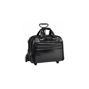 Mcklein McKlien 86605 Midway 86605- Black Leather Fly-Through Checkpoint-Friendly 17 inch Detachable Wheeled Laptop Case