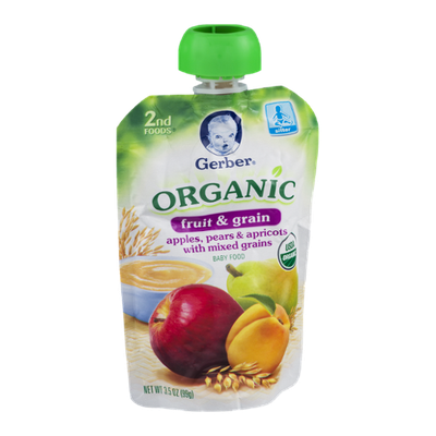 Gerber 2nd Foods Organic Baby Food Fruit & Grain Apples, Pears & Apricots With Mixed Grains