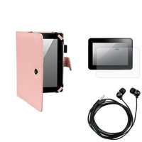 Insten INSTEN Pink Leather Case+Anti-Glare Screen Protector+Blk Headset For Kindle Fire HD 8.9