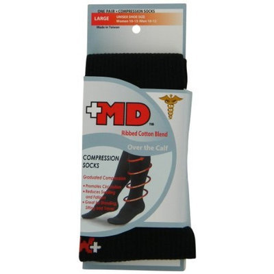 MD USA Ribbed Cotton Compression Socks with Cushion, Black, Medium