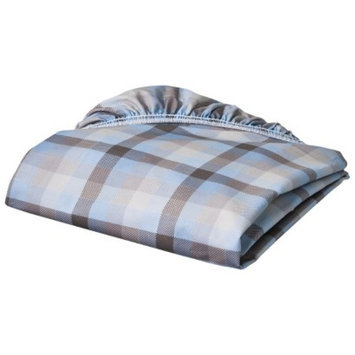 Eddie Bauer Blue Plaid Fitted Crib Sheet
