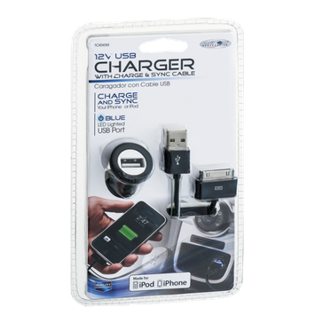 Custom Accessories 12V USB Charger With Charge & Sync Cable