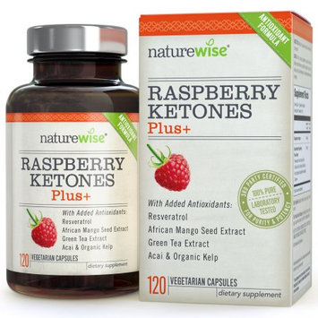 NatureWise Raspberry Ketones Plus+ Advanced Antioxidant Blend with Green Tea for Weight Loss, 120-ct