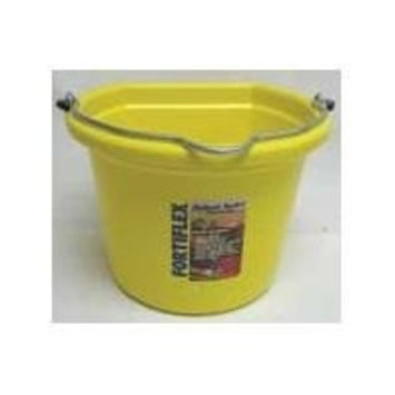 Fortiflex Flat Back Feed Bucket for Dogs/Cats and Small Animals, 8-Quart, Mellow Yellow