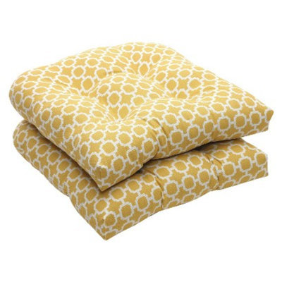 Pillow Perfect Outdoor 2-Piece Wicker Chair Cushion Set - Yellow/White Geometric