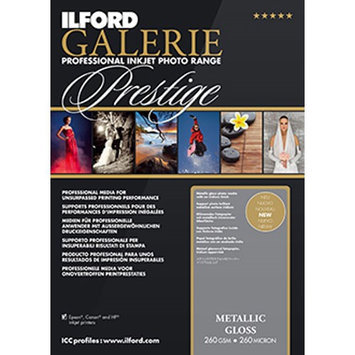 Ilford Galerie Prestige Metallic Gloss Photo InkJet Paper, 260 gsm, 10.5 mil, 8.5x11
