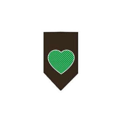 Ahi Green Swiss Dot Heart Screen Print Bandana Cocoa Large