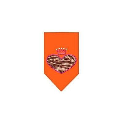 Ahi Zebra Heart Rhinestone Bandana Orange Small