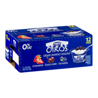 Dannon Oikos Greek Nonfat Yogurt Variety Pack - 12 CT