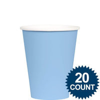 Amscan 68015.108 9 oz. Pastel Blue Creme Plastic Paper Cup - Pack of 120