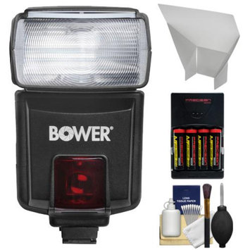Bower SFD926N Digital Autofocus Power Zoom TTL / i-TTL Flash + Reflector + Batteries + Kit for Nikon D3200, D3300, D5200, D5300, D7000, D7100, D610, D800, D4s DSLR Cameras