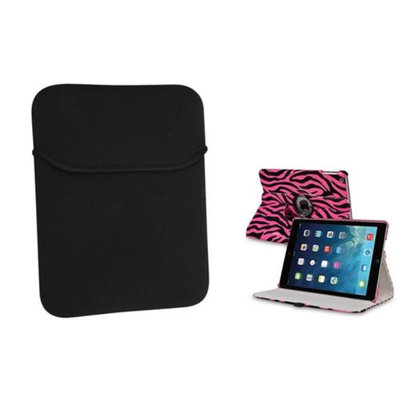 Insten INSTEN Pink/Black Zebra 360 Stand Leather Case Cover+Pouch For Apple iPad Air 5 5th Gen