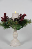 Delighted Home DH-LCCSC Crackled Lighted Christmas Stand with 5 in. Cream Pillar